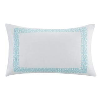 Echo Design Indira Aqua Cotton Faux Linen Oblong Throw Pillow