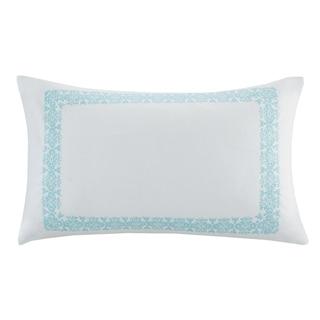 Echo Design Indira Aqua Cotton Faux Linen Oblong Throw Pillow