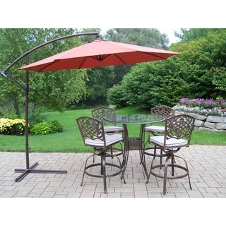 Lattice 6-piece Swivel Bar Set with Bar Table, 4 Cushioned Swivel Bar Stools, and 10 ft. Umbrella