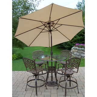 Lattice 7-piece Swivel Bar Set with Glass Top Bar Table, 4 Swivel Bar Stools, 9 ft. Tilt & Crank Metal frame Umbrella and Stand