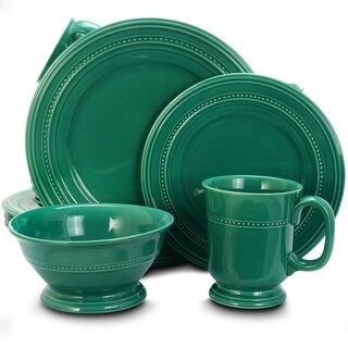 Gibson Barberware Turquoise Stoneware Textured 16-piece Dinnerware Set