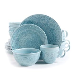 Gibson Alemany Aqua Blue Stoneware 16-piece Dinnerware Set