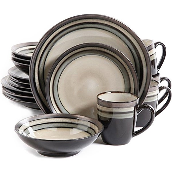 Gibson Lewisville Beige Stoneware 16-piece Dinnerware Set (Service for 4)  sc 1 st  Overstock.com : gibson dinnerware - pezcame.com