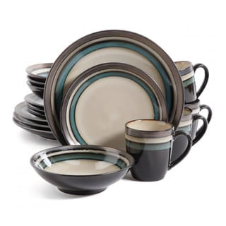 Gibson Elite Lewisville Teal Stoneware 16-piece Dinnerware Set