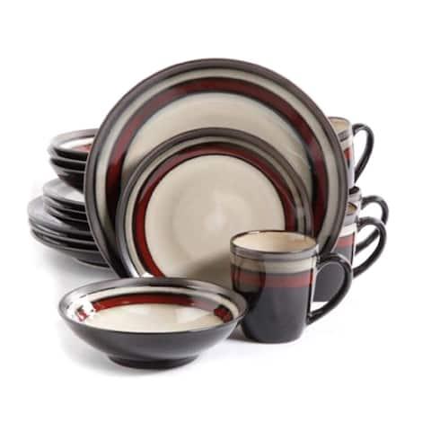 Gibson Lewisville Red 16-piece Dinnerware Set (Service for 4)