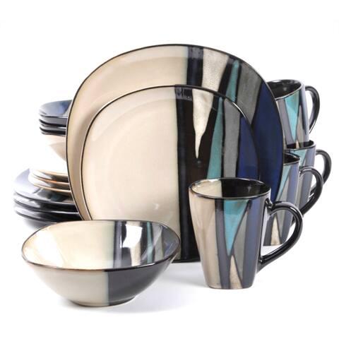 Althea Teal Stripe Stoneware 16-Piece Dinnerware Set (Service for 4)