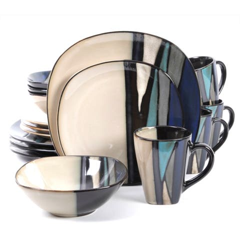 Althea Teal Stripe Stoneware 16-Piece Dinnerware Set (Service for 4)