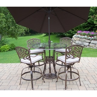 Lattice 7 Pc. Swivel Bar Set with Bar Table, 4 Swivel Bar Stools, 9 ft. Tilt & Crank featured Metal frame Umbrella and Stand