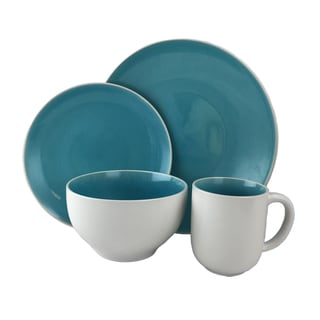 Gibson Serenity Turquoise Stoneware 16-piece Dinnerware Set (Service for 4)