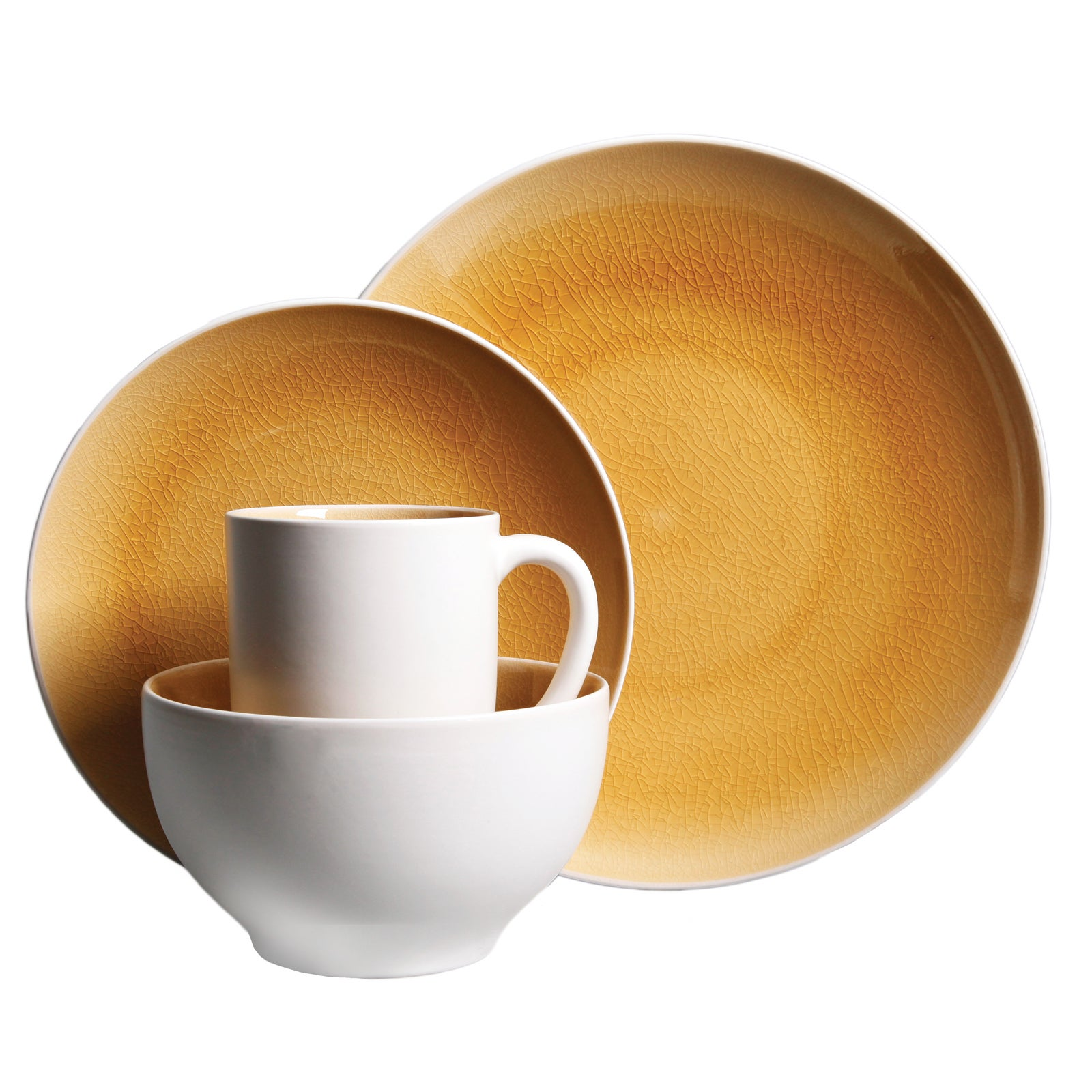 gibson serenity amber yellow 16-piece dinnerware set (service for