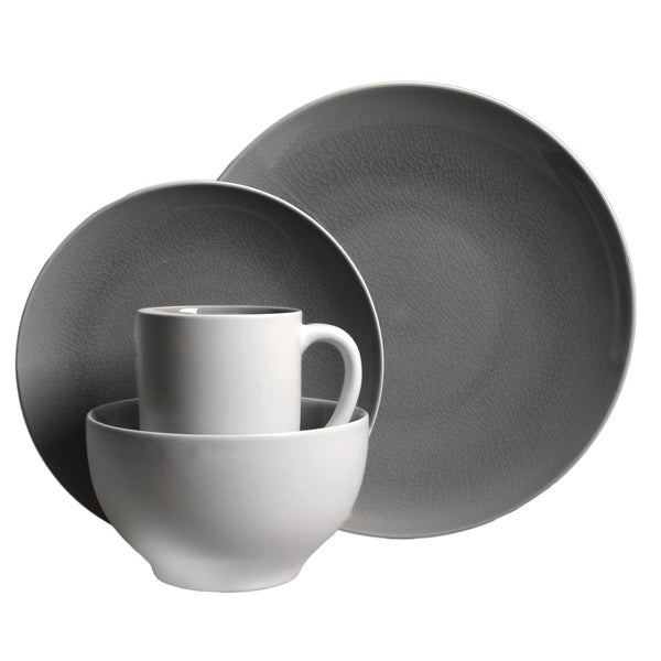 Gibson Serenity Gray 16-piece Dinnerware Set (Service for 4)  sc 1 st  Overstock.com & Gibson Serenity Gray 16-piece Dinnerware Set (Service for 4) - Free ...