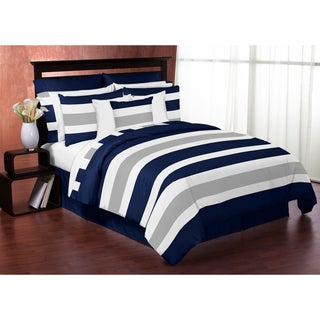 Sweet Jojo Designs Navy Blue and Gray Stripe 4-piece Twin Comforter Set