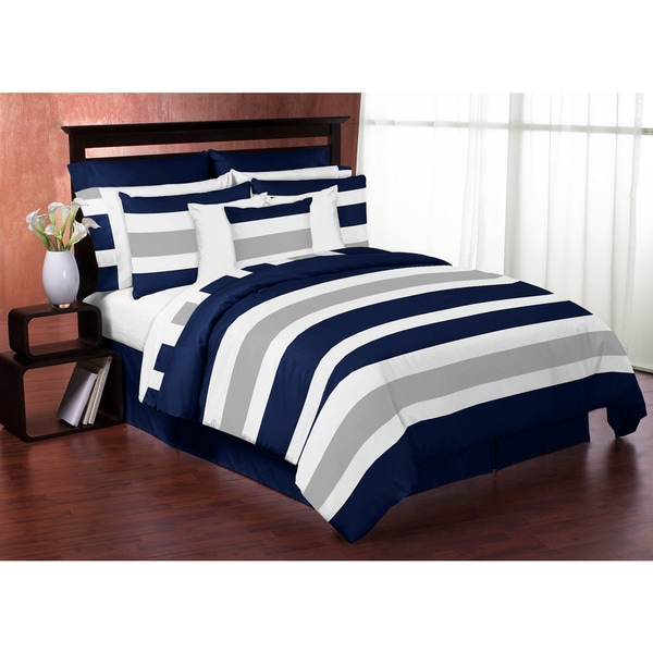 Sweet Jojo Designs Navy Blue and Gray Stripe 4-piece Twin Comforter Set