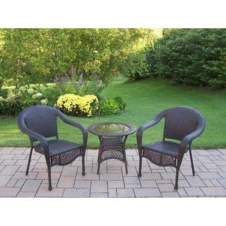 Merit Resin Wicker 3-piece Set with End Table and 2 Stackable Round-back Chairs