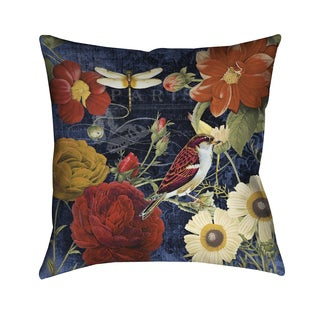 Laural Home Midnight Floral and Fauna Blue Polyester Decorative Pillow