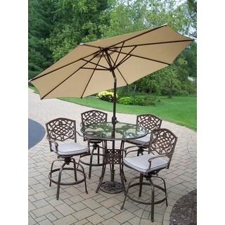Lattice 7 Pc. Swivel Bar Set with Glass Top Bar Table, 4 Swivel Bar Stools, 9 ft. Tilt & Crank Metal frame Umbrella and Stand