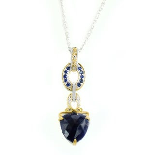 One-of-a-kind Michael Valitutti Rose Cut Opaque Blue Sapphire and Blue Sapphire Pendant