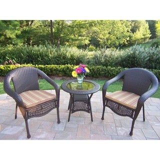 Merit Resin Wicker 3 Pc. Set with 25-inch End Table and 2 Cushioned Stackable Chairs