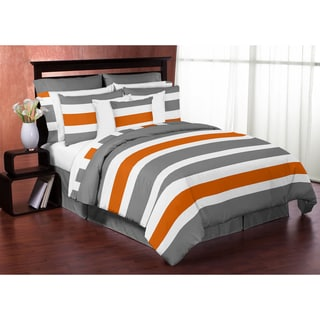 Sweet Jojo Designs Gray and Orange Stripe 4-piece Twin Comforter Set