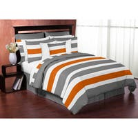 Sweet Jojo Designs Gray and Orange Stripe 4-piece Twin Comforter Set