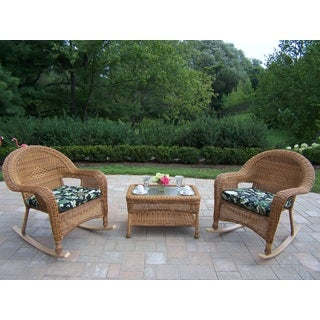 Calabasas Outdoor Resin Wicker 3-piece Rocker Set