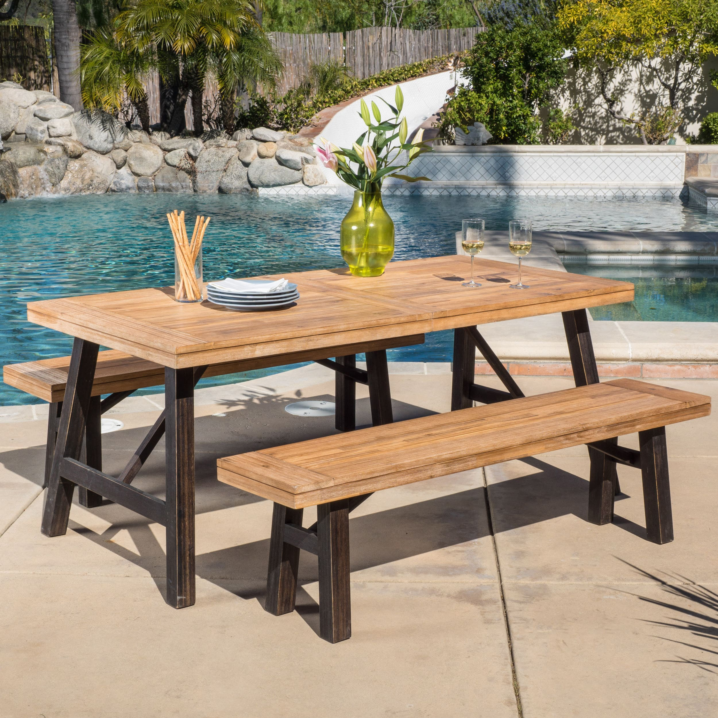 Boracay Outdoor 3-piece Picnic Dining Set by Christopher ...