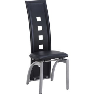 Global Furniture Black Faux Leather and Metal Dining Chair