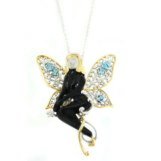 One-of-a-kind Michael Valitutti Black Onyx and Swiss Blue Topaz Fairy Pendant with Moveable Wings