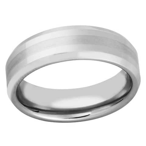 Men's Dual-finish Cobalt Band - Silver