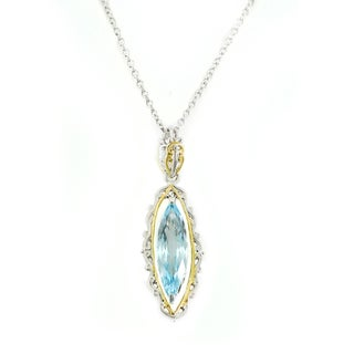 One-of-a-kind Michael Valitutti Marquise Check Top Swiss Blue Topaz Pendant
