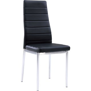 Global Furniture Black Faux Leather Chrome Leg Dining Chair