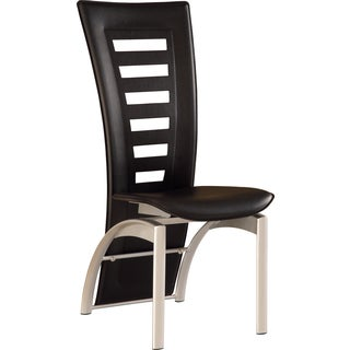 Global Furniture Black Leatherette Chair with Silver Legs