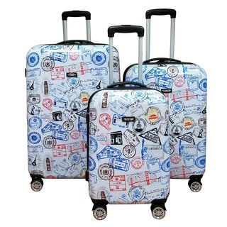 Kemyer World Series II Wide Body White 3-Piece Silver Stamp Hardside Spinner Luggage Set