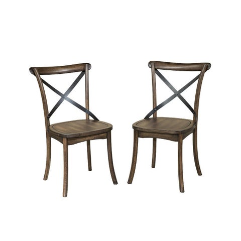 Lindsay Walnut X-Back Dining Chair-set of 2
