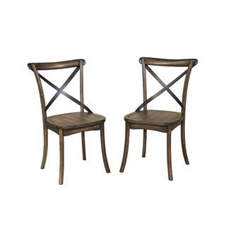 Intercon Lindsay Walnut X-Back Side Chair-set of 2