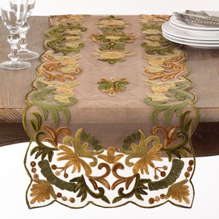 Embroidered Flourishes Table Runner