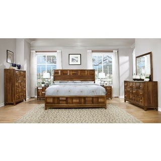 Calais Solid Wood Construction Bedroom Set with Bed, Dresser, Mirror, 2 Night Stands, Chest, King, Walnut