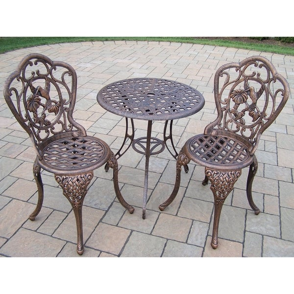 shop lattice cast aluminum 3 pc bistro set with 24 inch table and 2