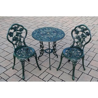 Camellia Cast Aluminum Verdi Green 3-piece Bistro Set with Table and 2 Chairs