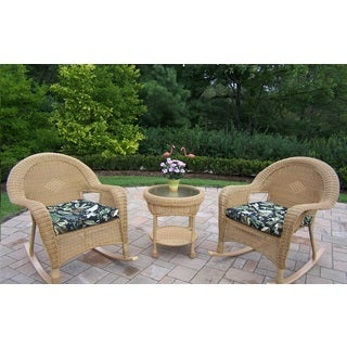 Calabasas 3-piece Wicker Rocker Set with 2 Cushioned Rocking Chairs and Side Table