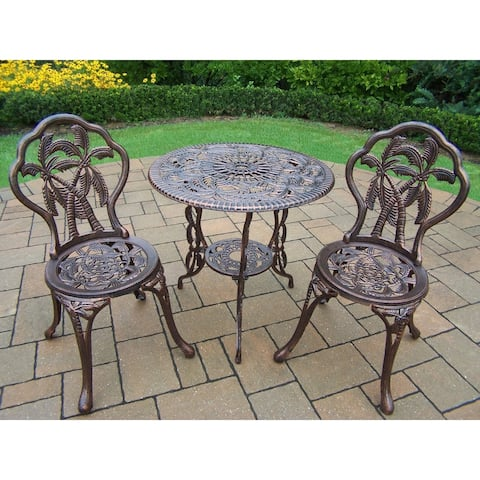California Coast Cast Metal 3 Pc. Bistro set with 26-inch Table and 2 Chairs