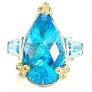 One-of-a-kind Michael Valitutti Paraiba Quartz with Swiss Blue Topaz and White Sapphire Cocktail Ring