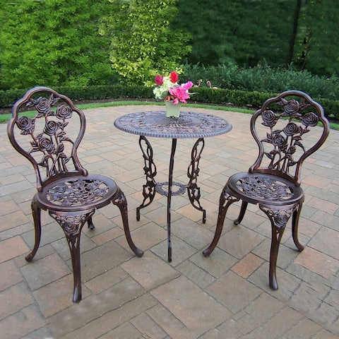 Camellia Cast Aluminum 3-piece Bistro Set with Table and 2 Chairs