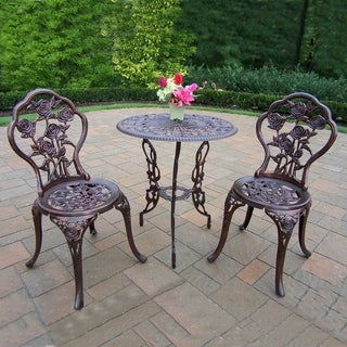 Camellia Cast Metal 3 Pc. Bistro Set with Aluminum Top Table and 2 Chairs