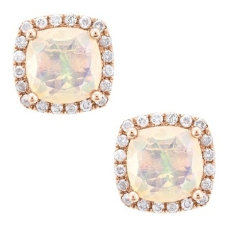 14K Rose Gold Ethiopian Opal and Diamond Stud Earrings by Anika and August