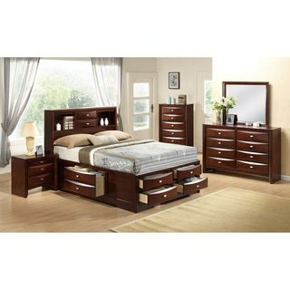 Emily 111 Wood Storage Bed Group with Queen Bed, Dresser, Mirror, 2 Night Stands and Chest, Merlot