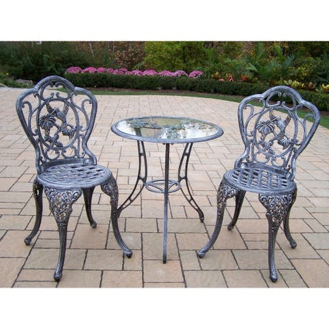 Lattice Hummingbird Outdoor Aluminum 3-piece Bistro Dining Set