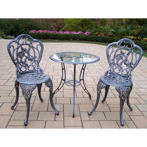 Lattice Hummingbird Outdoor Aluminum 3-piece Bistro Dining Set