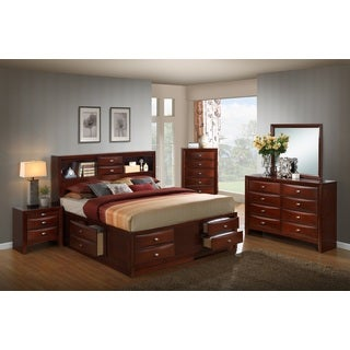 Emily 111 Wood Storage Bed Group with Queen Bed, Dresser, Mirror, Night Stand and Chest, Merlot