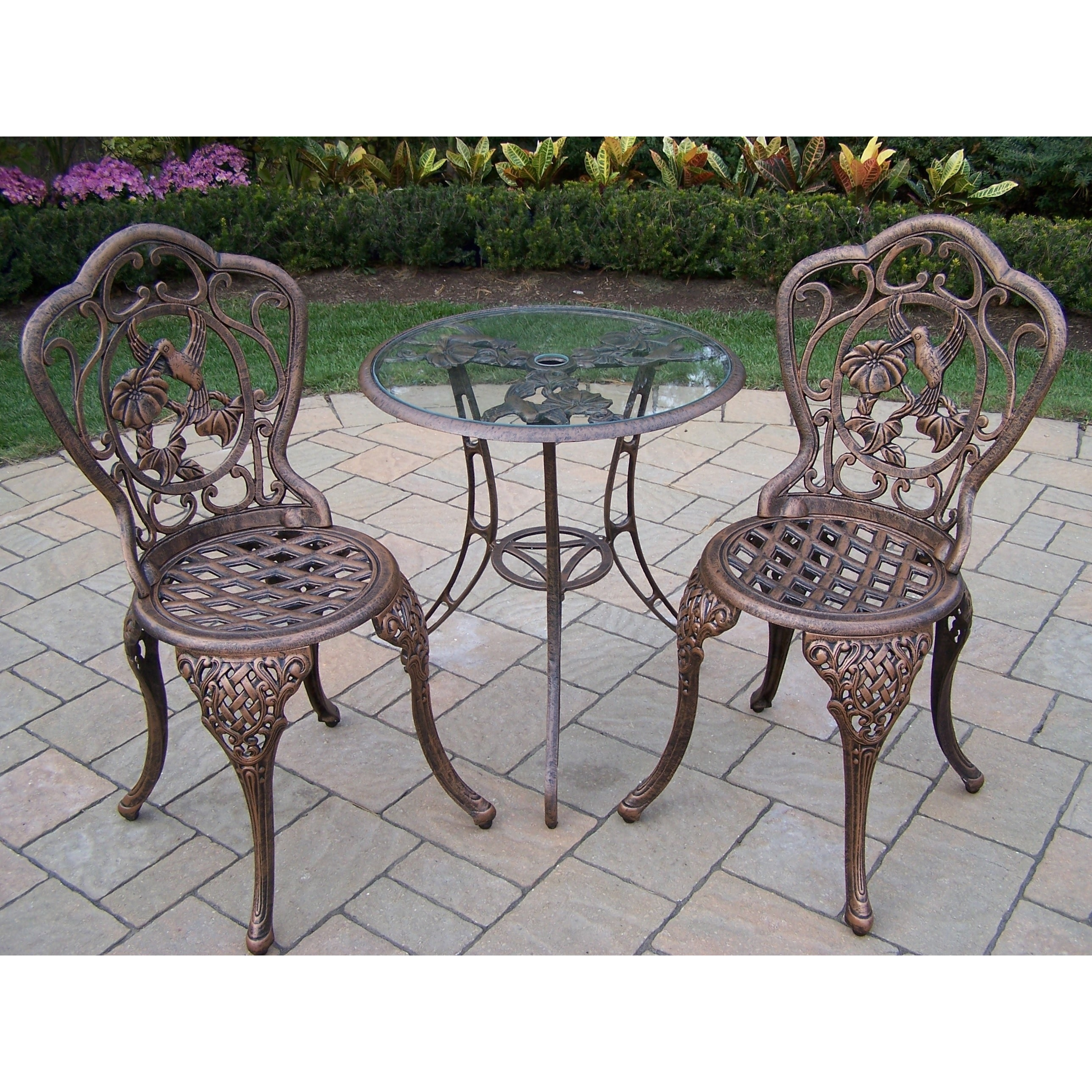Picture of: Lattice 3 Piece Bistro Set With 24 Inch Tempered Glass Top Table And 2 Chairs On Sale Overstock 12990927